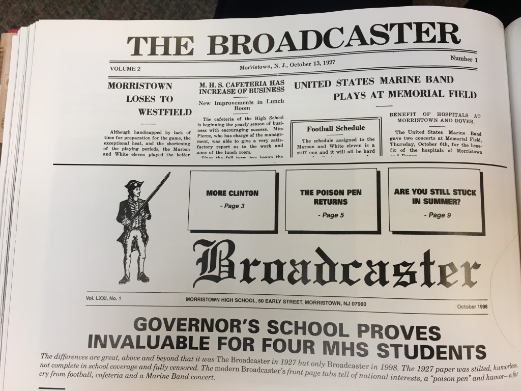 A front page from an early addition of The Broadcaster. Source: Youth's Bright Years: An American High School by John T. Cunningham